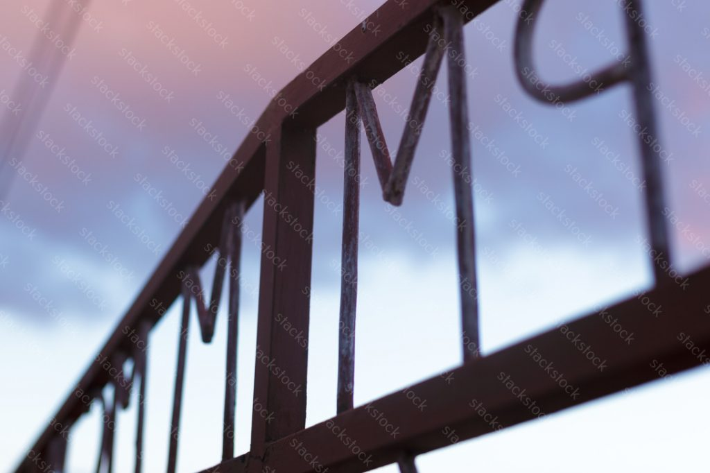Steel fence closeup