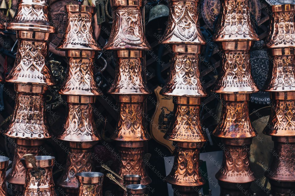 Copper cups stacked
