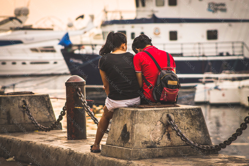 Couple in the docks in the Philippine