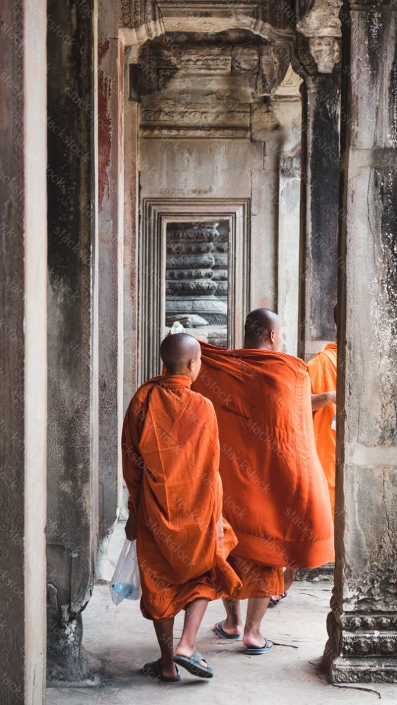 Monks at Angkor Wat. Siem Reap, Cambodia