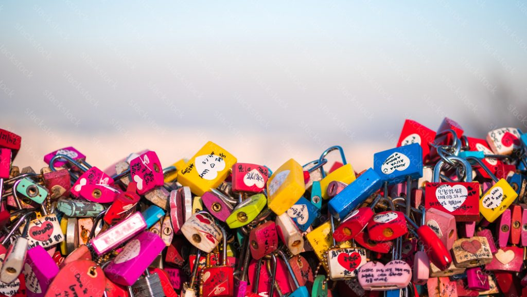 Colorful love padlocks, Seoul, Namsan Park