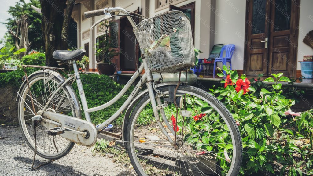 Bicycle in the temple at Vietnam