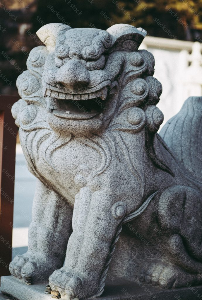 Lion statue. Bongeunsa temple, Seoul, Korea
