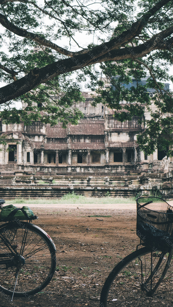 Classic vintage Bicycle in Angkor Wat temple Cambodia