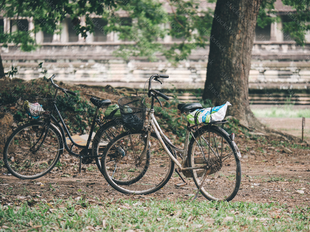 Classic vintage bicycle in Angkor Wat temple. Siem Reap, Cambodia