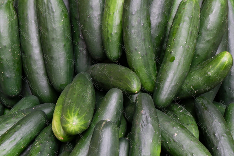 Close up on a green cucumber on a market