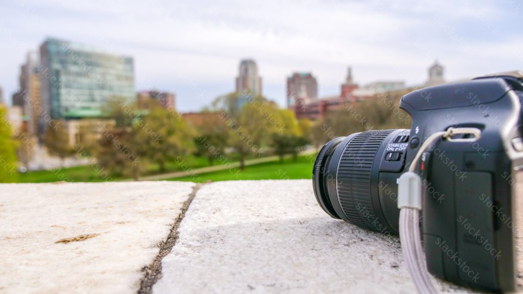 Camera on the top of big stone in the Providence, Rhode Island