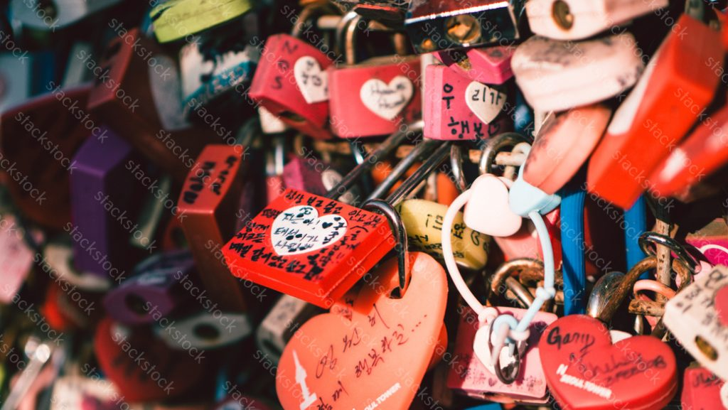 Colorful love padlocks, Seoul, Namsan Park.