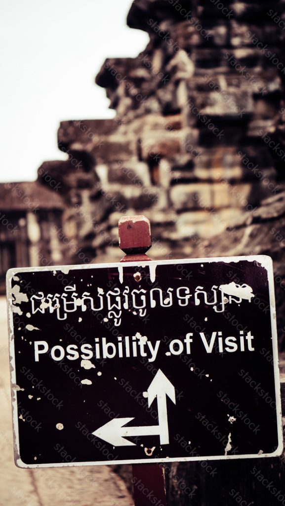 Sign in Angkor Wat Temple. Siem Reap, Cambodia