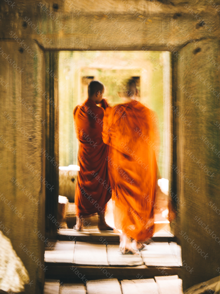 Monks at Angkor Wat, Siem Reap, Cambodia. Blurry