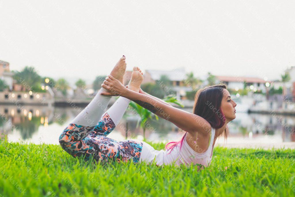 Yoga woman on park