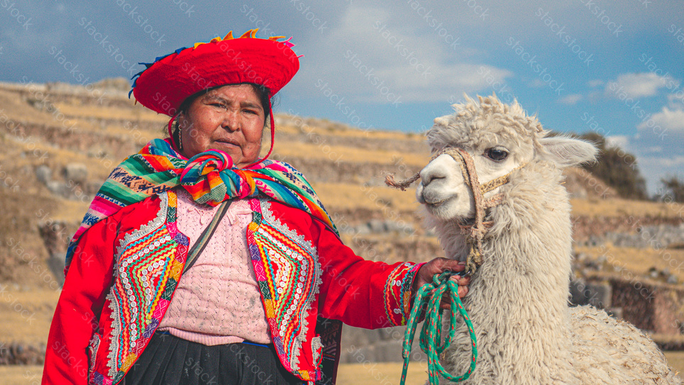 Indigenous woman with llama in Peru