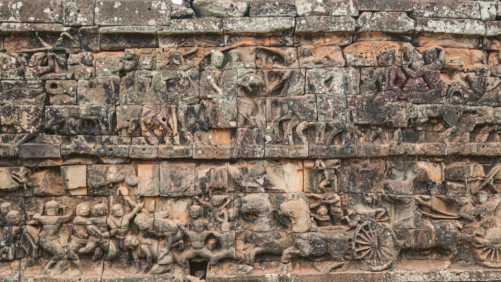 Bas relief artwork in Bayon Temple in Angkor, Siem Reap, Cambodia.