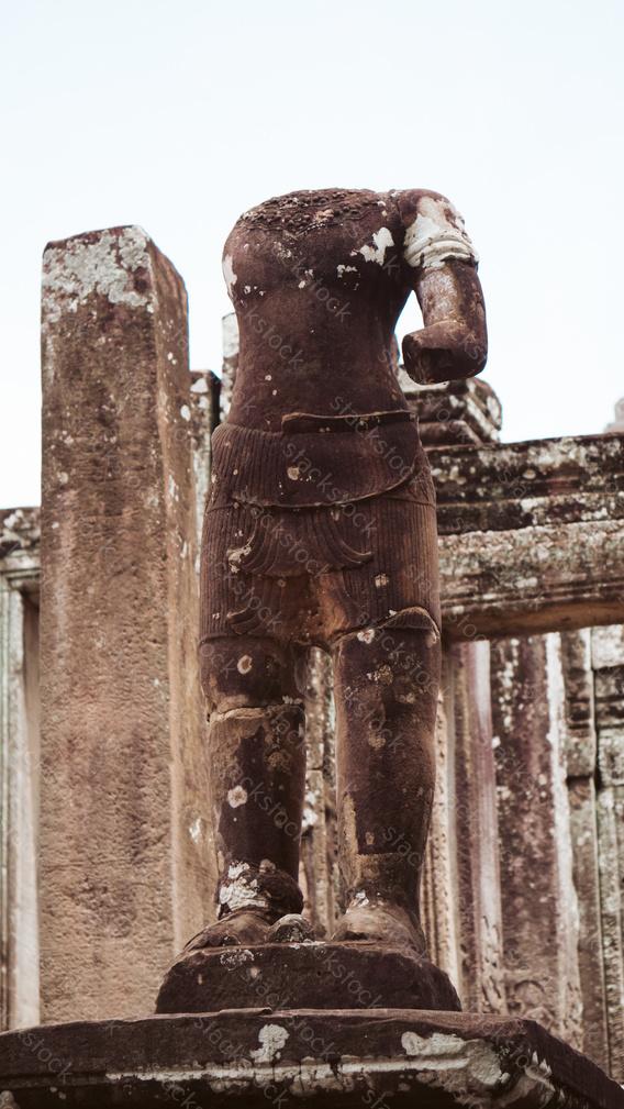 Broken statue at Bayon Temple, Angkor Thom, Cambodia