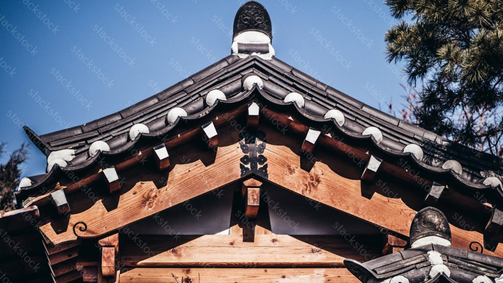Architecture and street scenery of Bukchon Hanok Village in Seoul, South Korea