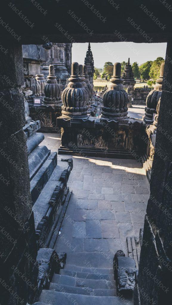 Prambanan temple on frame. Indonesia