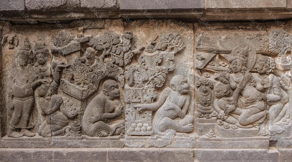 Carving on a stone at Prambanan, Yogyakarta. Indonesia